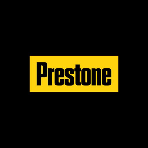 Prestone logo, Black letters on a bright gold background.