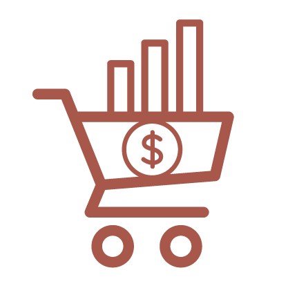 A copper line graphic depicting a grocery cart with a dollar sign.