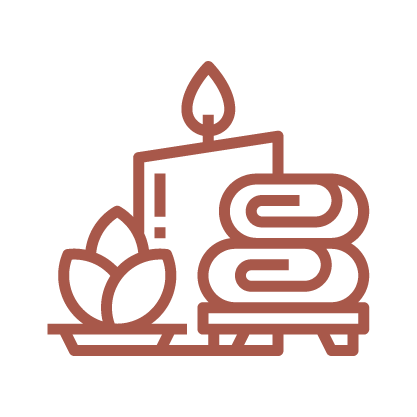 A copper line graphic depicting a plant and candle.