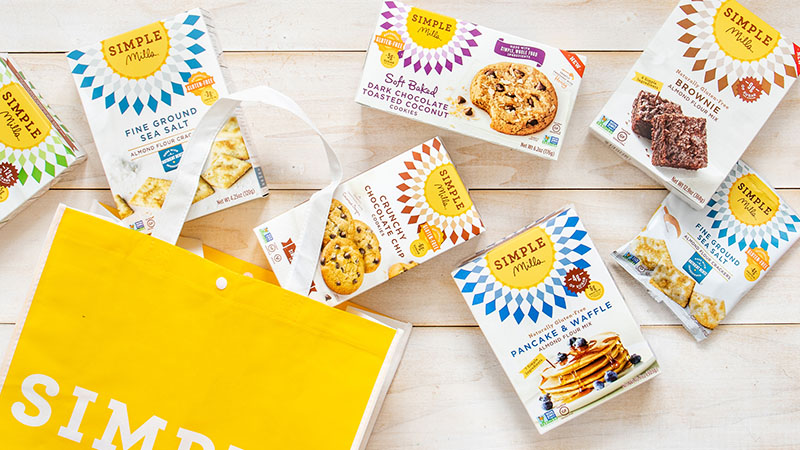 Various boxes of products and mixes from Simple Mills.